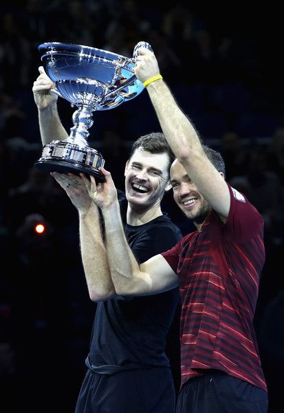 ♔♔Jamie Murray of Great Britain and Bruno Soares of Brazil celebrate being crownd the Number 1 Men's Doubles Team in the world after their men's doubles semi final against Rajeev Ram of the United States and Raven Klaasen of South Africa on day seven of the ATP World Tour Finals at O2 Arena on November 19, 2016 in London, England.