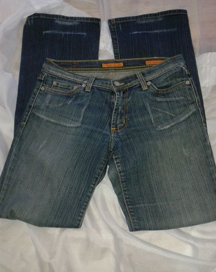 """JEANS PLASTIC BY GLY sz 7  rise 8"""" ,inseam 32""""  Blue #PLASTICBYGLY #BootCut"""