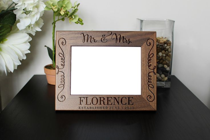 Personalized Picture Frame, Walnut Picture Frame, Personalized Photo Frame, Custom Photo Frame, Wedding Gifts, Custom --PF-WAL-MRMRSFLORENCE by Etchey on Etsy https://www.etsy.com/listing/247965491/personalized-picture-frame-walnut