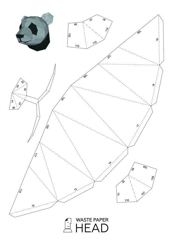 Plantilla de cabeza de papel impresión de pandas por WastePaperHead