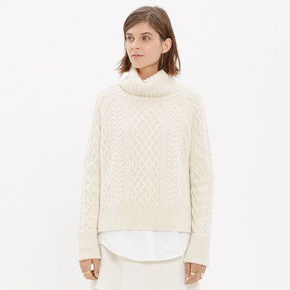With its elaborate cable-stitch front, oversized funnelneck and dramatic, long-in-back hem, this design-team favorite is loaded with attitude (while still being oh-so-easy to wear).  <ul><li>True to size.</li><li>Wool/nylon/alpaca.</li><li>Dry clean.</li><li>Import.</li><li>Madewell.com only.</li></ul>