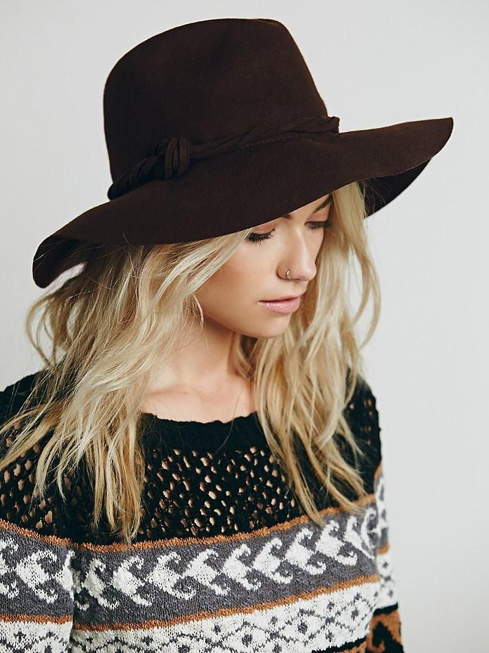49983f6793adeb Free People Clipperton Fedora Hat With Extended Brim Boho Dark Brown Felt  Twisted Knotted Hat Band Festival Hat