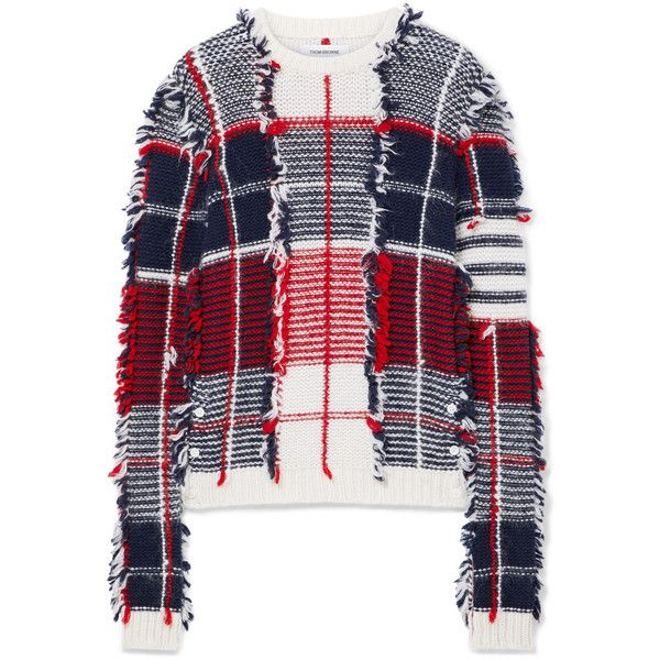 Thom Browne Frayed intarsia cashmere-blend sweater ($4,325) ❤ liked on Polyvore featuring tops, sweaters, red top, button sweater, red plaid sweater, plaid sweater and plaid top