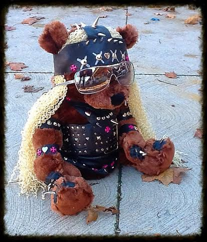 Rocker Girl Leather Spiked n Studded Teddy Bear - Genuine handmade leather outfit by ToxifyDesigns on Etsy