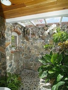roof planting serene sun house | oooo - or this!! open shower with lots of sun and plants ...