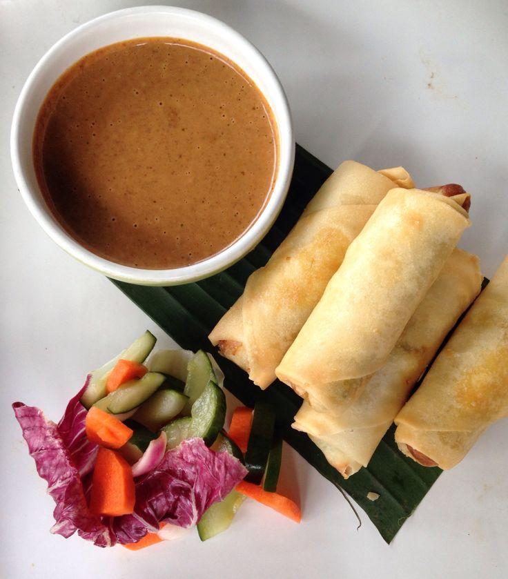 Lumpia - Balinese spring rolls with peanut sauce.
