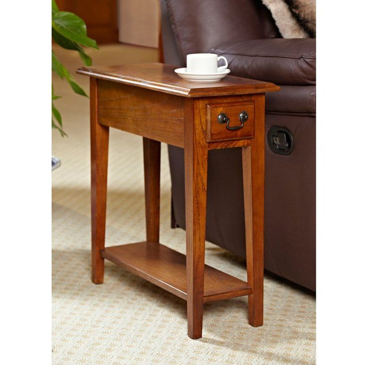 Hardwood 10 Inch Chairside End Table in Medium Oak - Shake things up a bit with the Shaker/Mission style of the Hardwood 10-Inch Chairside End Table in Medium Oak. With distressed edges for antique appea...