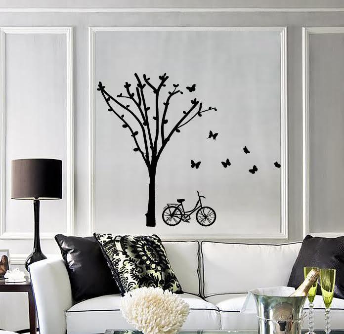 Wall Stickers Vinyl Decal Tree Butterfly Bike Very Romantic Decor Z1962