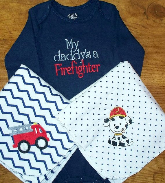 Fireman Baby Boy Gift Set - My daddy's a Firefighter Onesie fire truck and dalmatian receiving blanket