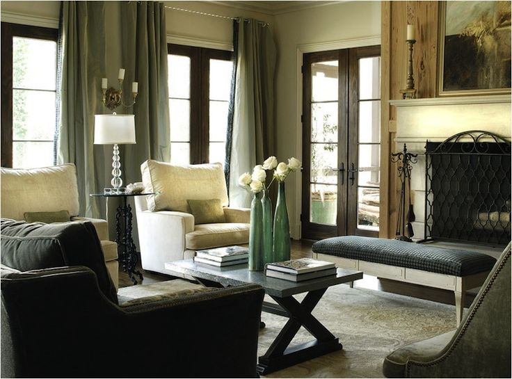 Gorgeous Living Room With Limestone Fireplace Linen Chairs Gray Black Plaid Bench Rustic X
