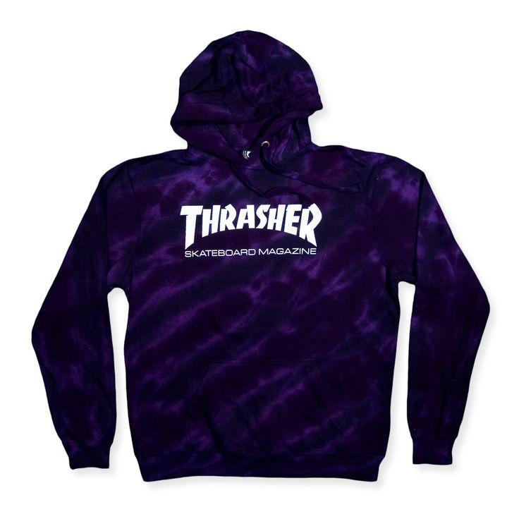 Thrasher Skate Mag Tie Dye Hoodie Purple Black
