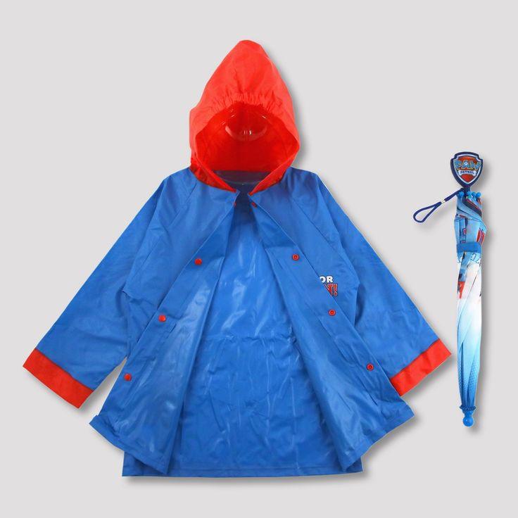 Toddler Boys' Paw Patrol Rain Jacket and Umbrella - Blue 2T-3T, Blue Red