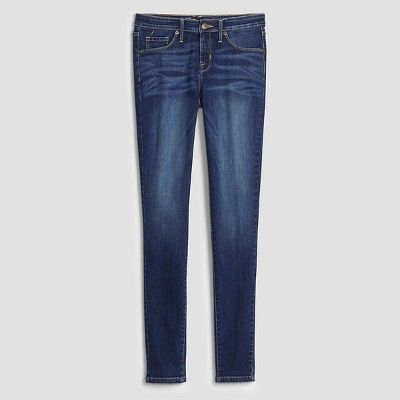 Women's Mid Rise Skinny Jeans - Mossimo Dark Wash 10 Long, Blue