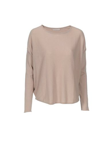 BOAT NECK CREPE COT. SWEATER