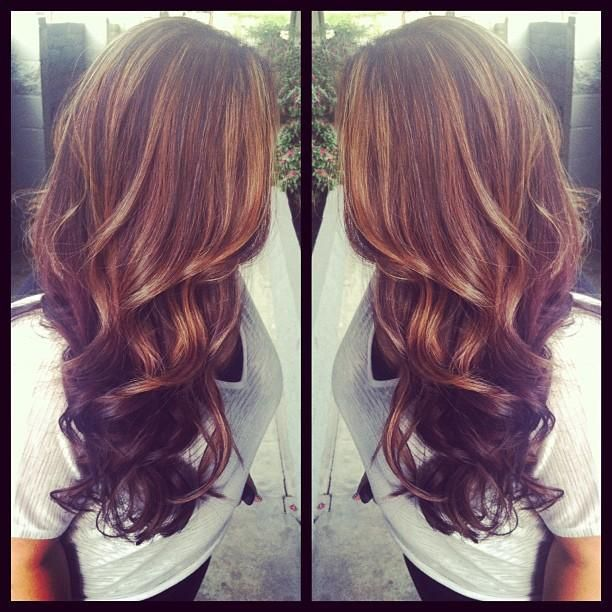 Light brown highlights & dark brown lowlights, thick curls and long layers from PaintedHair.