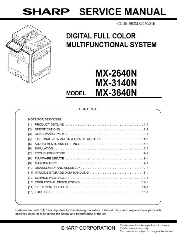 Sharp Mx 2640n 3140n 3640n Service Manual And Technical Troubleshooting Repair Guide Manual Repair