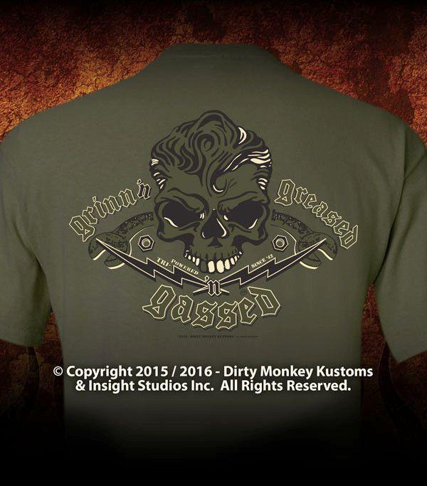 Rockabilly Skull & Wrenches T shirt - Kustom original design
