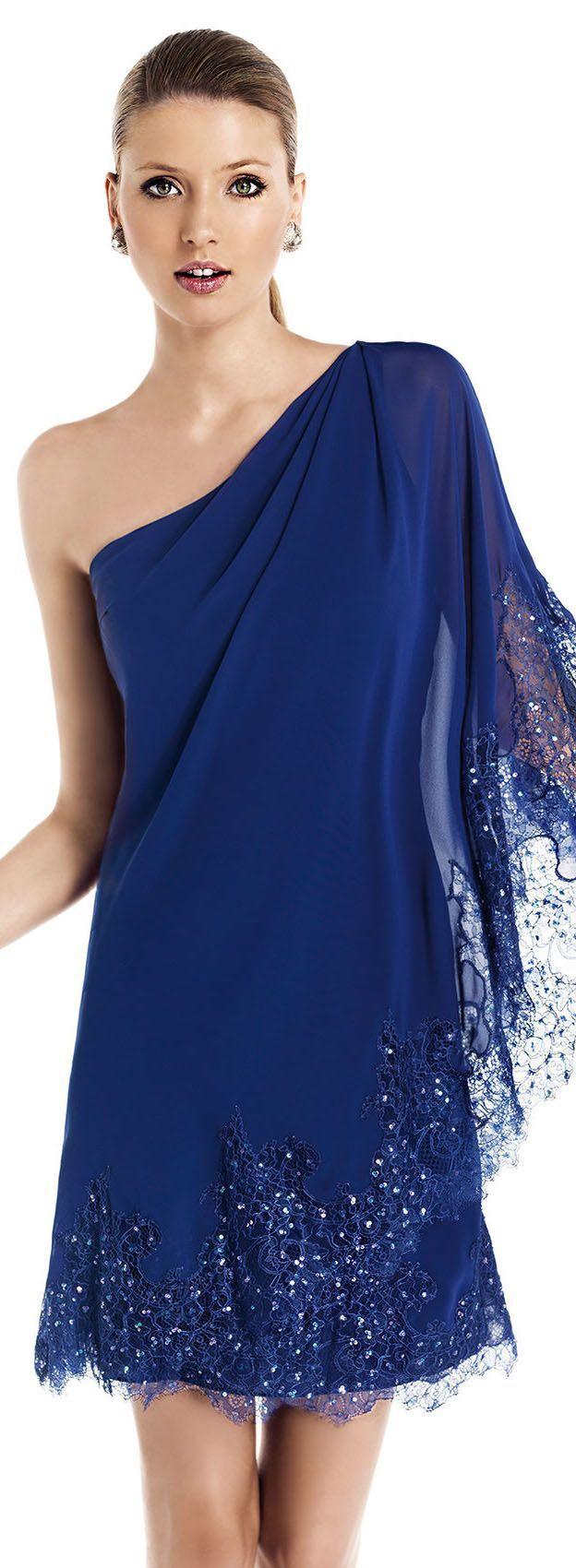 azul un solo hombro Pronovias 2015 Cocktail Dress Collection