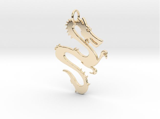 Dragon Pendant & Charm 3d printed 14K Gold