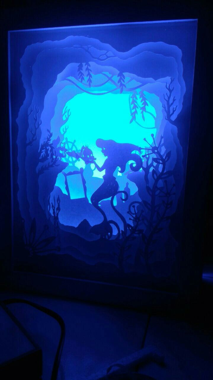 Ariel little mermaid shadowboxlight #shadowbox #ariel #mermaid #littlemermaid #handpapercut #paperart