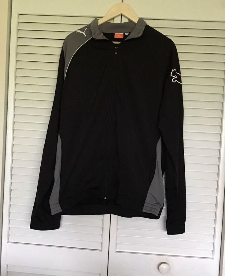 PUMA Sport LIfestyle Zip Up Track Jacket XL Black/ Grey Quality Details.  | eBay