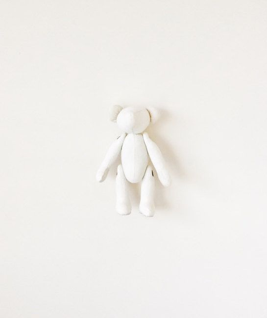 White Teddy Bear, Minimalist Toy, Baby Soft Toy, Unisex Baby Shower Gift, Stuffed Polar Bear, fabric teddy bear
