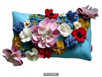 Beautiful felt flower cushion - must make my own version of this!