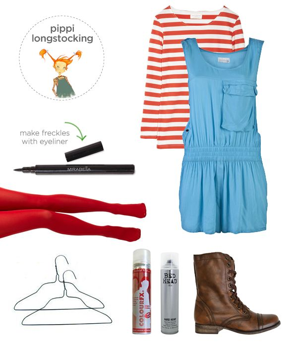 10 Last Minute Halloween Costume Ideas for you (or your teen). Remember Pippi Longstocking?