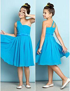 Vestido de Dama de Honor Junior - Azul Océano Corte A Solo Hombro Hasta la…                                                                                                                                                                                 Más
