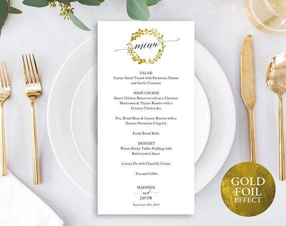 Faux Gold Wedding Menu Template Printable Wedding Menu Gold