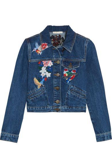 Maje - Cropped Embroidered Denim Jacket - Mid denim - FR
