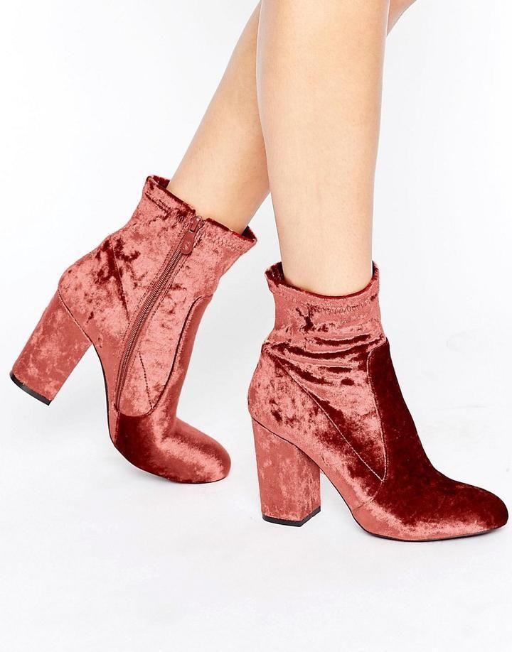 Public Desire Lila Pink Velvet Heeled Ankle Boots