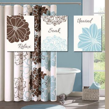 Delightful Blue Brown BATHROOM Wall Art CANVAS Or Prints Bathroom Outline Flower Set  Of 3 Wall Relax