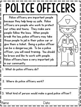 Community Helpers: Police Officer | Reading comprehension ...