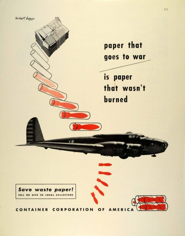 Herbert Bayer   1942   Ad Container America Waste Paper World War II Military Plane