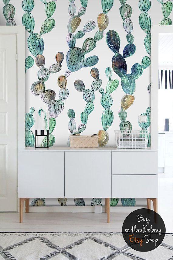 Fondo de pantalla de impresionante cactus || Aspecto metálico || Etiqueta de cactus || Pelar y pegar papel tapiz removible #41