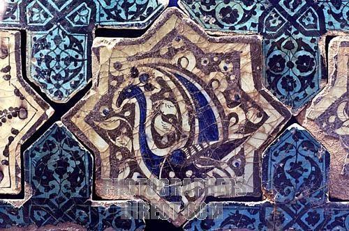 Seljuk tile bird figure A D 1236 Kubadabad Palace , Konya Karatay Madrasah Museum
