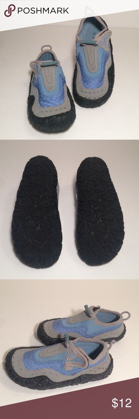 """Teva Kid's Shoes These Teva shows are in great condition! They have a Velcro closure and mixed textiles. These are grey and light blue. Kid's size 9, they measure approximately 7"""" from toe to heel. Teva Shoes"""
