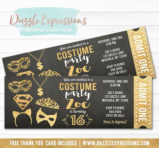 Printable Chalkboard and Gold Costume Party Birthday Ticket Invitation | Girl Dress Up Party | Teen or Adult Halloween Costume Party | October Birthday | 16th, 18th, 21st Birthday Invite | Cupcake Toppers | Favor Tags | Banner | Food Labels | DIY Party Package Decor Available