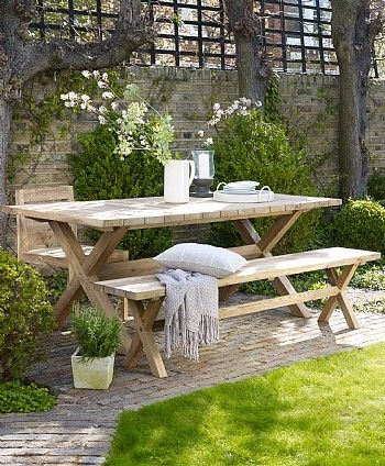 Kuta Outdoor Dining Table #perfectoutdoorliving this bench is gorgeously designed and quaint to have a few drinks with family and friends.
