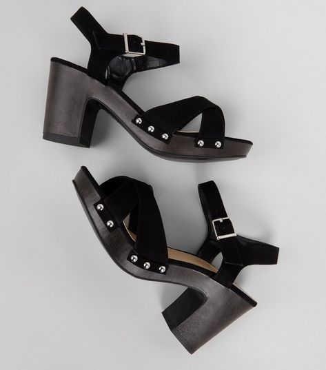 Wide Fit Black Suedette Stud Side Heeled Clogs | New Look
