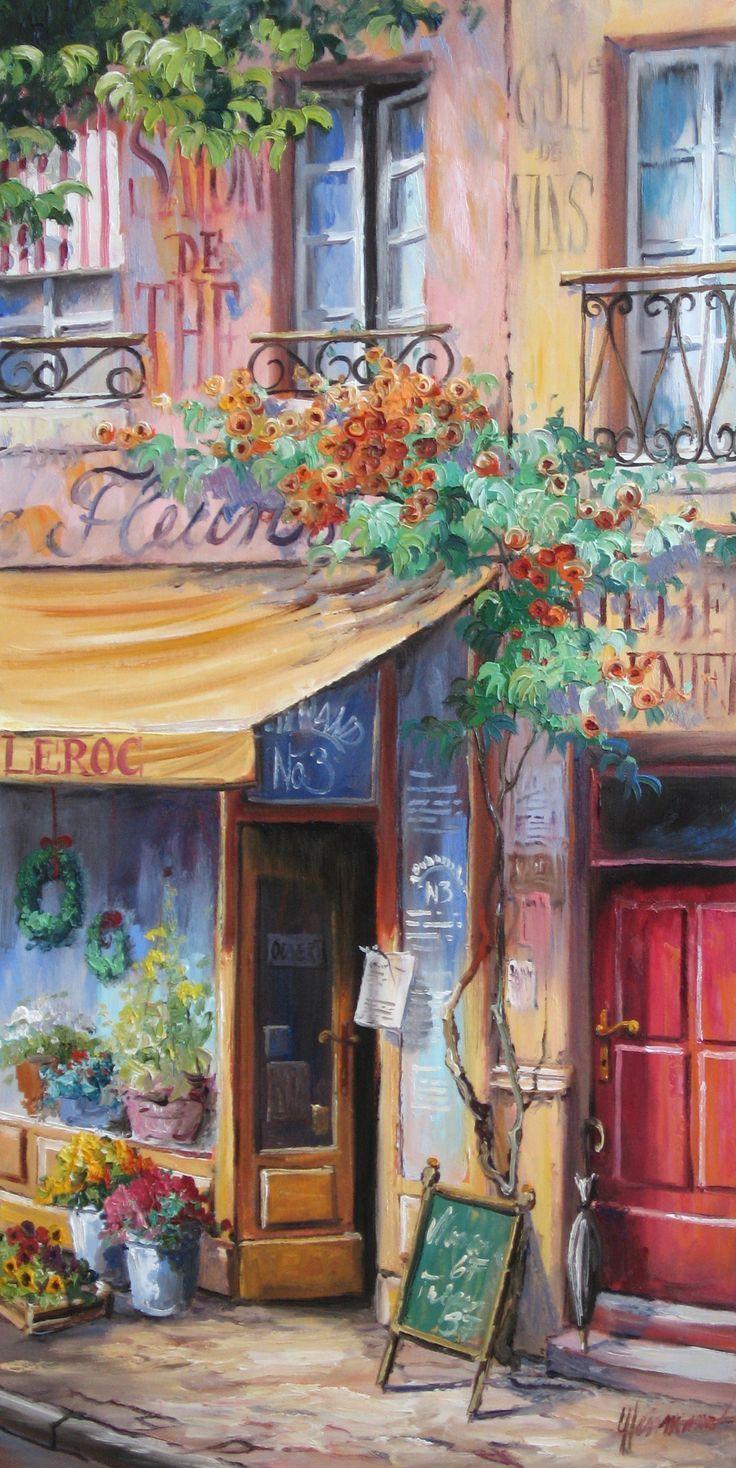 Paris – eine Strasse mit kleinem romantischen Ladengeschäft – Fleuriste | Ölbild von Ute Herrmann – Malen mit Leidenschaft | Mehr Gemälde mit franz…