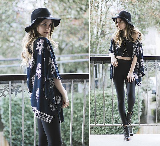 Kassy D - H&M Black Brim Hat, Rosegal Kimono, American Apparel Crop Top, Garage Clothing High Rise Shiny Leggings, Forever 21 Strappy Heeled Sandals, River Island Cross Body Necklace - Edgy Bohemian