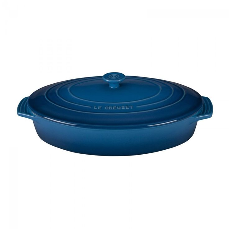 Le Creuset Stoneware 3.5L Oval Casserole - Marseille | This dish in marseille blue is perfect for entertaining, with lengthened handles for easy carrying. #lecreuset #kitchen