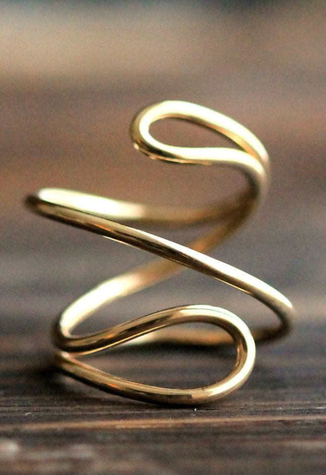 Endless Double Wire Adjustable 14K Gold Filled or Silver Ring- 3D Swirl…