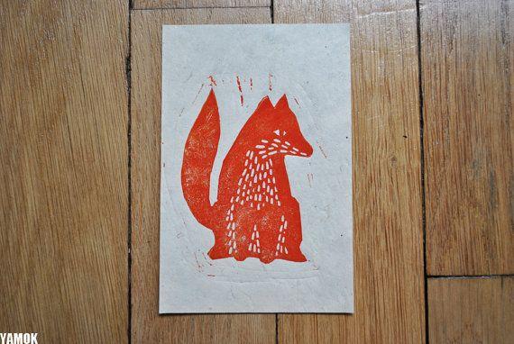 Fox, Original lino print signed, Marion Marty
