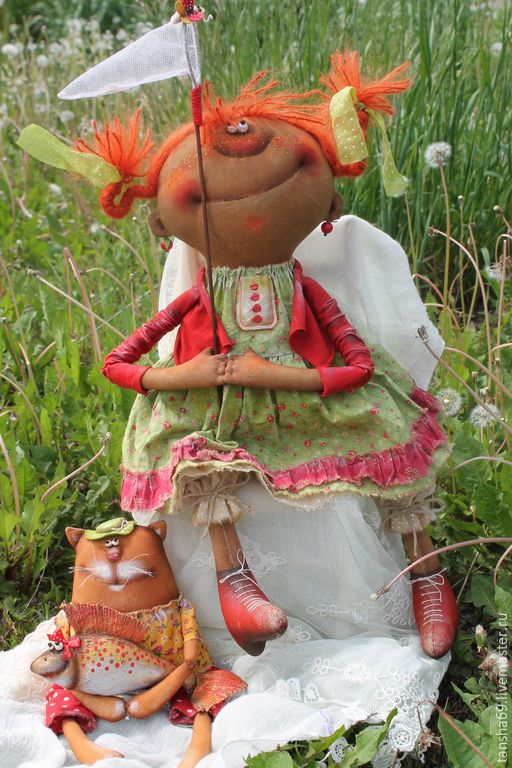 Купить Дачники!Ура,лето! - разноцветный, текстильная кукла, ароматизированная кукла, интерьерная кукла, примитивная кукла