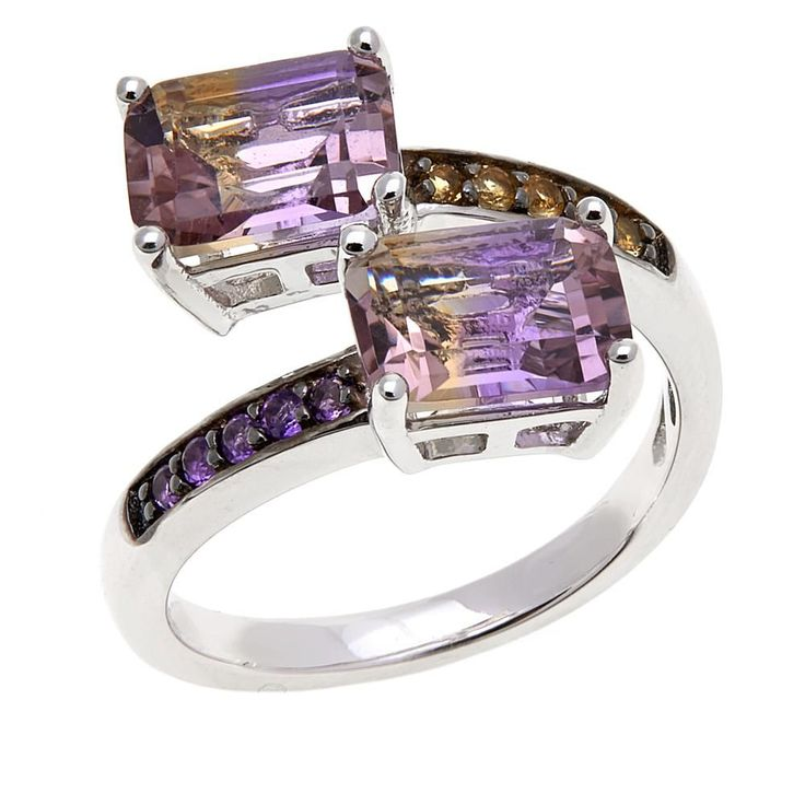 Colleen Lopez Collection Colleen Lopez 3ctw Ametrine and Gem Sterling Silver Bypass Ring