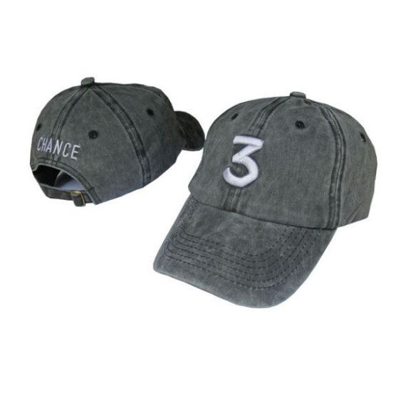 Chance the rapper '3' hat vintage grey / by CapsWithAttitude