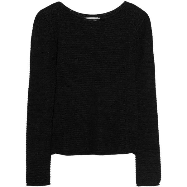 Kain Iona open-knit sweater ($170) ❤ liked on Polyvore featuring tops, sweaters, shirts, jumpers, black, long length shirts, black open knit sweater, rayon shirts, black sweater and long jumper
